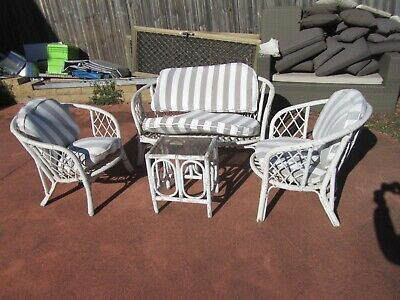 AU159.99 • Buy Vintage Cane Outdoor Setting, 2-seater + Two Singles  With Cushion, Coffee Table