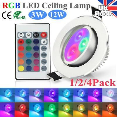 £9.19 • Buy RGB LED Recessed Ceiling Down Lights 3/12W Lamp Spotlights 16 Color Changing UK