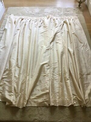 £26.75 • Buy Raw Silk Look Pair Of Lined Light Cream Ivory Curtains Montgomery 179 X 330 Cm