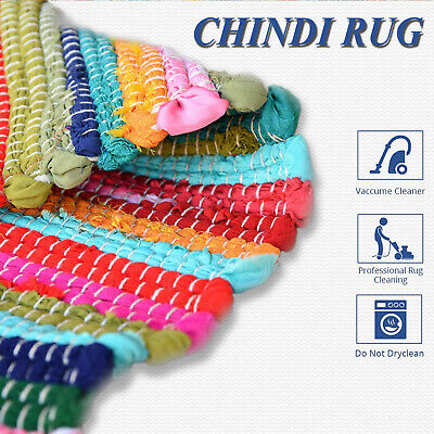 £29.99 • Buy Handmade Chindi Rag Rug Recycled Cotton Loom Large Small Woven Indian Floor Mat