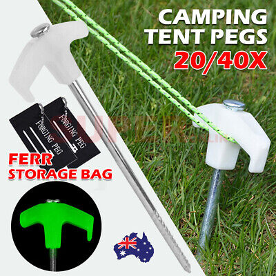 AU21.99 • Buy 20/40X Camping Tent Pegs Screw Drill Steel In-ground Luminous Head Nail Stakes