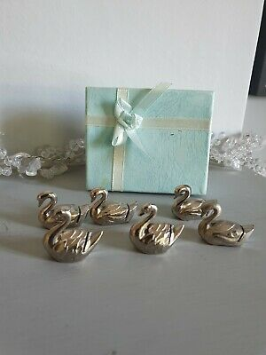 £22 • Buy Six Vintage French Dining Swan Table Place Setting Name Holders Party Wedding