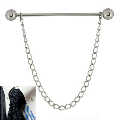 £3.99 • Buy Mens 6CM Silver Barbell End Collar Pin Chain Stainless Steel Tie Bar