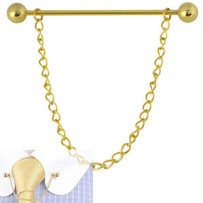 £3.99 • Buy Mens 6CM Gold Barbell End Collar Pin Chain Stainless Steel Tie Bar