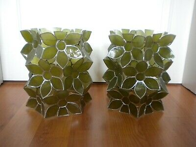 £16 • Buy Pair Of Apple-green Coloured Capiz Shell Lampshades