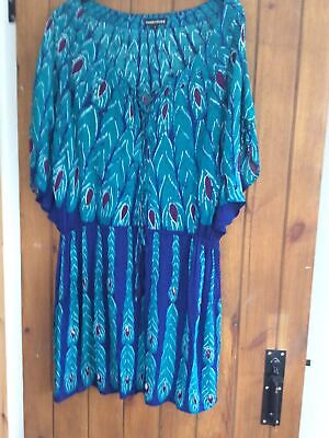 £7.99 • Buy New Warehouse Peacock Feather Print Dress Size Large