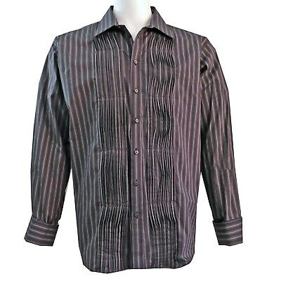 £21.23 • Buy Mens Pleated Front Shirt French Cuff Size XXL Striped