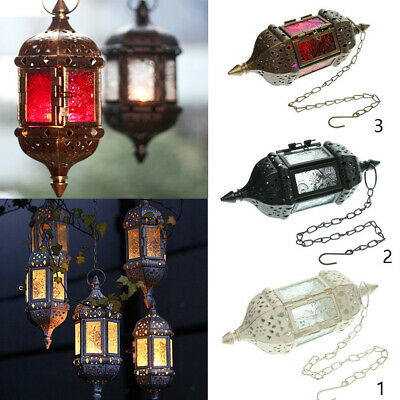£13.99 • Buy Hanging Glass Moroccan Style Lantern Tea Light Candle Holder Home Decor