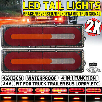AU30.99 • Buy 24V LED Sequential Dymanic Rear Truck Tail Light Turn Brake Lamp Trailer Lorry