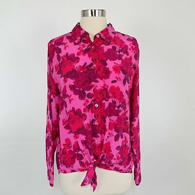 $ CDN100.58 • Buy Equipment Silk Button-Up Shirt Blouse S Small Tie Waist Floral Pink Red Roses