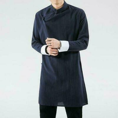 $58.79 • Buy Chinese Style Mens Cotton Linen Long Gown Jackets Hanfu Tang Suits Tops Coats
