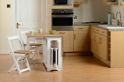 £179.99 • Buy Santos Folding Drop Leaf Butterfly Dining Set With 4 Chairs Pine & White