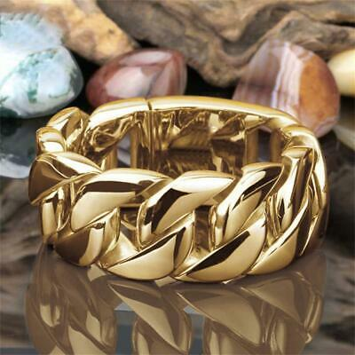 AU2.31 • Buy For Women Men Gold Filled Link Chain Ring Jewelry Band Ring Stainless Steel