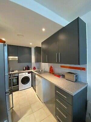 £250 • Buy Grey Laminate Kitchen With A Faux Granite Laminate Worktop And Appliances
