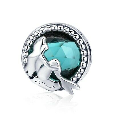 AU27.99 • Buy Sterling Silver Charms For Bracelets Necklace Modish Mermaid Blue Round Jewelry