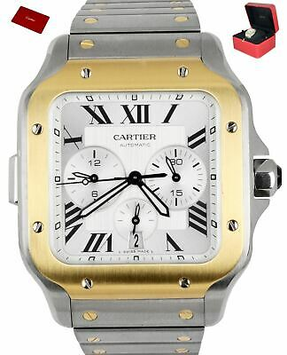 £8143.64 • Buy 2020 Cartier Santos Chronograph 4183 Two-Tone Stainless Gold 43mm W2SA0008