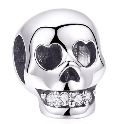 AU23.99 • Buy Sterling Silver Charms For Bracelets Necklace Halloween Skull Head Jewelry