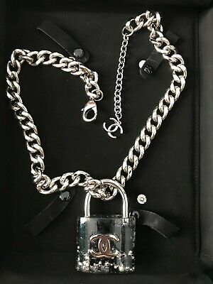 £420 • Buy Chanel Padlock Silver & Black Necklace, Supermarket Collection, In Box