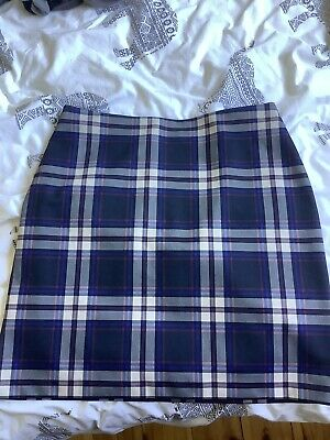 £2.99 • Buy M&S Ladies Blue Check Stretch Skirt Size 14
