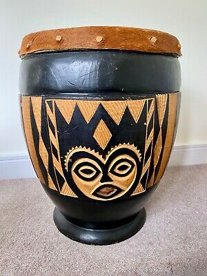 £10 • Buy Wooden Hand Carved African Drum - Very Good Condition