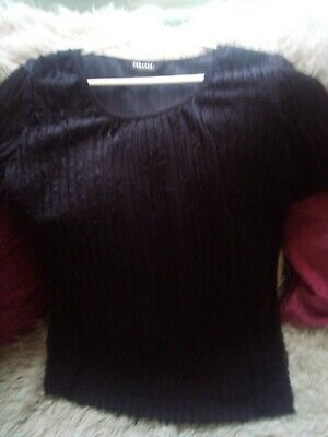 £3 • Buy Forever By Michael Gold Lovely Black Ruffle Designer Top Size L 14/16