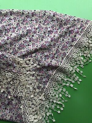 £5.60 • Buy Brand New Pink Floral Silk Cotton Triangular Scarf Lace Boho