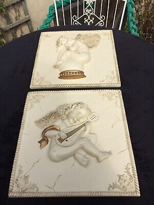 £19.99 • Buy Vintage Wall Plaque Hangings 3D Cherub Rococo French Style X 2