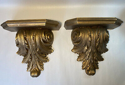 £65.41 • Buy Vintage Pau French Rococo Style LARGE Wall Shelf Scones,Classic Display Set Of 2