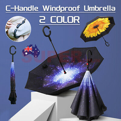 AU17.95 • Buy Upside Down Reverse Umbrella Windproof C-Handle Double Layer Inside-Out Inverted
