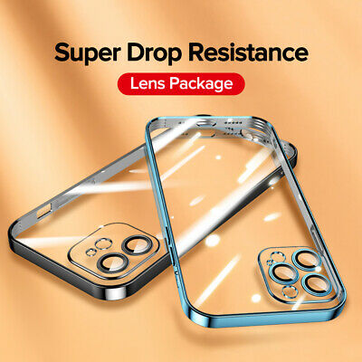 £3.89 • Buy CLEAR CASE For IPhone 12 11 Pro Max Mini XS XR SE X 8 7 Plating Silicone Cover