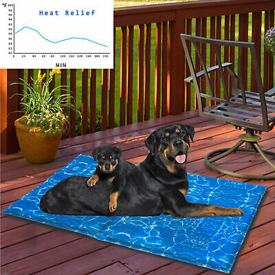 £11.99 • Buy Pet Self Cooling Gel Mat For Dogs Cats Bed Cage Crate Summer Sleeping Bed Cooler