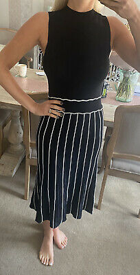 £25 • Buy Lipsy Black And White High Neck Midi Knitted Dress Size 12 New With Tags