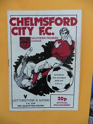 £2.99 • Buy Chelmsford City V Leytonstone Ilford 16/10/1982 Fa Cup - 3rd Qualifying Round