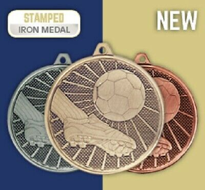 £12.99 • Buy 15 X Metal Football Medals & Ribbons. In Gold Silver Or Bronze FREE ENGRAVING