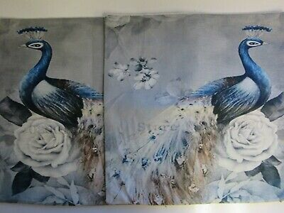 £5.99 • Buy Pair Of Peacock Cushion Covers 45x45cm Left & Right (SECONDS SEE DESCRIPTION)