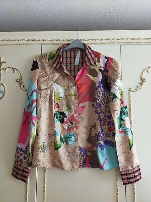 £10.40 • Buy BAZAR Christian LaCroix Silk Polyester Shirt Blouse Quirky Beige Floral Size 44