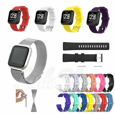 $ CDN9.70 • Buy For Fitbit Versa / Lite Replacement Silicone Rubber Milanese Metal Watch Band O