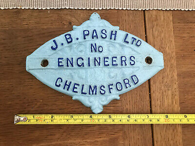 £25 • Buy J B Pash Ltd Engineers Chelmsford Cast Iron Agricultural Name Plate