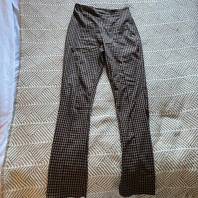 £10 • Buy Collusion Brown And Black Checked Flares With Leg Zips Size 10
