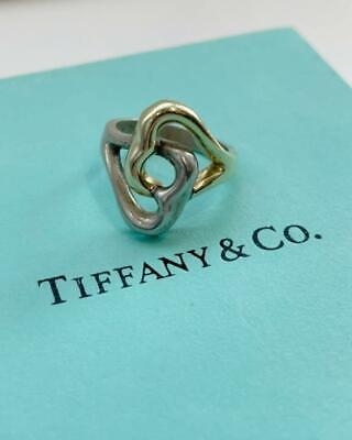 £128.21 • Buy Tiffany & Co. Double Twin Heart Ring 18K Yellow Gold Sterling Silver 925 NO BOX