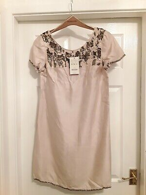 £9.50 • Buy Stunning *monsoon* Nude Dress / Beading Detail Size 14 New With Tags