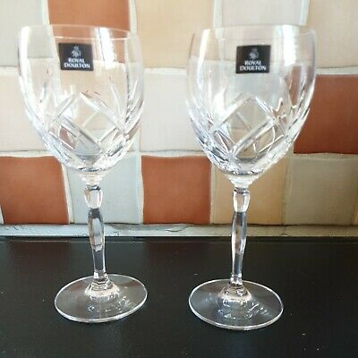 £18 • Buy 2 Royal Doulton Crystal Daily Mail Large Stem Wine Glasses Beautiful Apox 20cm
