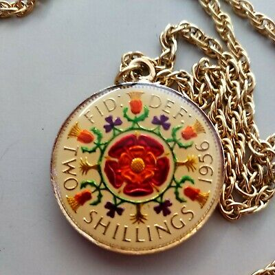 £18 • Buy  1956 Two Shillings Coin Necklace, Gold Tone. Beautiful Colours, See Photos Vgc
