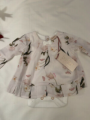 £17.99 • Buy BNWT Baby Girls Ted Baker 2pcs Vest Dress Bodysuit Outfit Age 3-6 Months