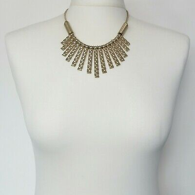 £4.95 • Buy Vintage Style Bib Necklace Textured Gold Tone, Etruscan Egyptian Grecian Style
