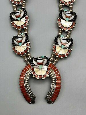 $ CDN1943.28 • Buy Exquisite Vintage Zuni Inlay Squash Blossom Style Necklace