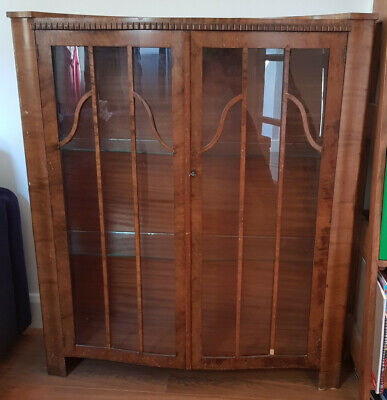 £35 • Buy Beautiful Edwardian Sepentine Glass-Fronted Display Cabinet