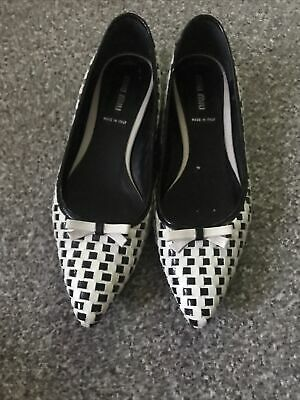 £45 • Buy Miu Miu Black And White With Bow Flat Heels Size Uk 5/38 Leather Summer VGC