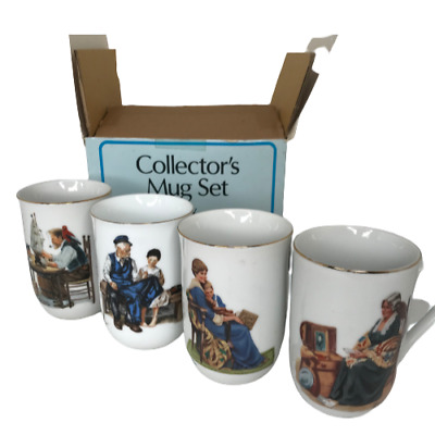 $ CDN83.80 • Buy Vintage Collectors Porcelain Norman Rockwell Classic Mugs Series Cup Set Of 4