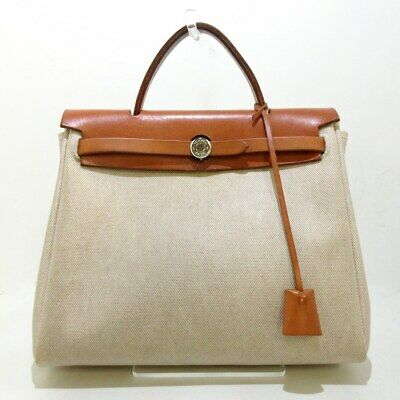AU1245.41 • Buy Auth HERMES Her Bag PM Cream Brown Toile H Leather Square E Handbag